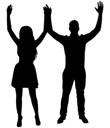 pareja feliz, las manos en alto. Vector