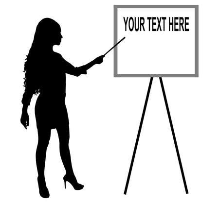 joven mujer de negocios que presenta algo en un tablero, vector