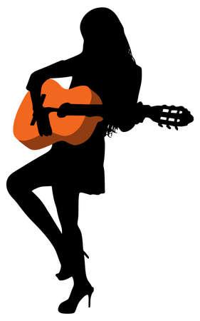 Young beautiful woman playing guitar, vector