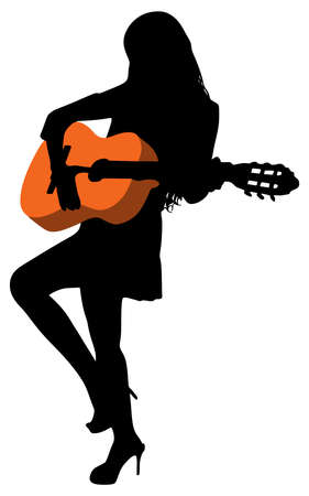 Young beautiful woman playing guitar, vector