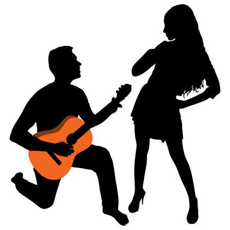 man playing guitar: Man playing guitar for a girl, vector