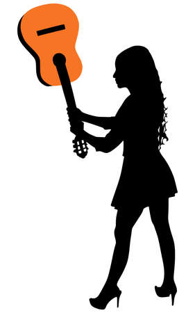 smashing: Girl Smashing Guitar, vector