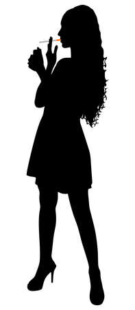 killing cancer: Silhouette of smoking girl, vector