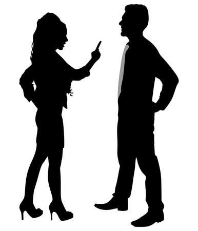 Business man en vrouw strijd debatteren praten over onenigheid, vector