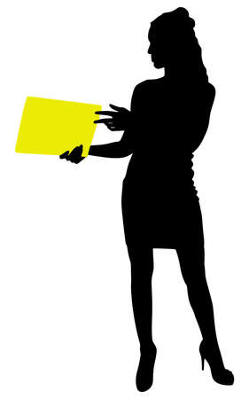 person silhouette: business woman holding folder, vector