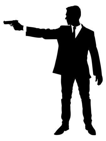 man shooting gun, vector Stock fotó - 54461741