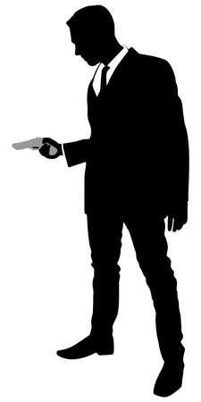 man shooting gun, vector Vektoros illusztráció