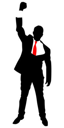 business man expressing winning winner energy success, vector Illustration