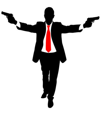 secret agent: Man with two guns Illustration