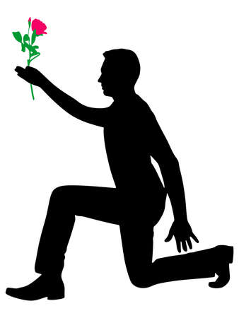 amor: Silhouette of a man holding flower, vector