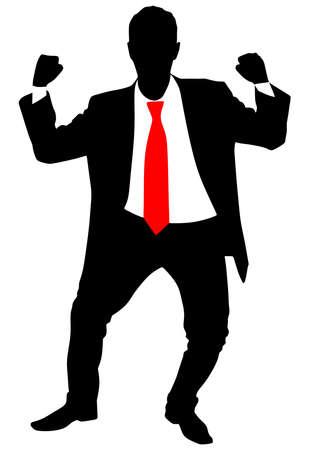 expressing: business man expressing winning winner energy success, vector Illustration