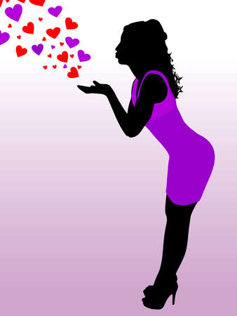 Beautiful young woman send a kiss, vector Illustration