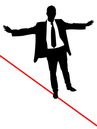 business concepts: A business man walks a high wire, vector