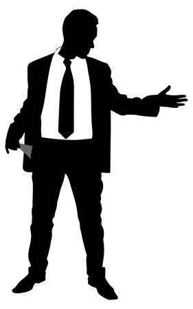 man looking out: businessman showing his empty pockets, vector Illustration