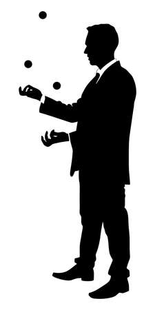movement control: Businessman juggling with some balls, vector