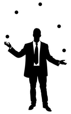 Businessman juggling with some balls, vector Reklamní fotografie - 54603827