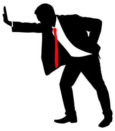 pushing: Successful businessman pushing, vector