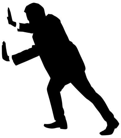 empujando: Exitoso hombre de negocios empujando, vector Vectores