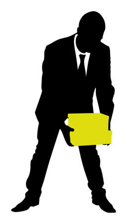 mature business man: successful businessman holding box, vector