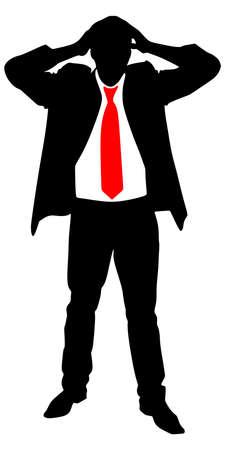introverted: worried businessman, vector Illustration