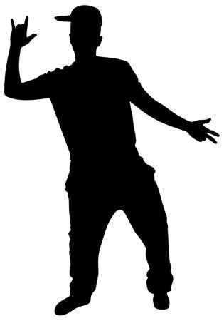 Silhouette of hip hop dancer, vector