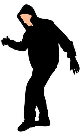 hip hop silhouette: Silhouette of hip hop dancer, vector