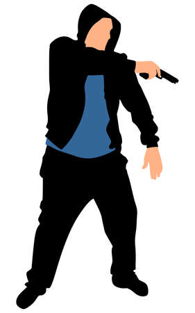 handgun: Silhouette of hip hop dancer with handgun, vector