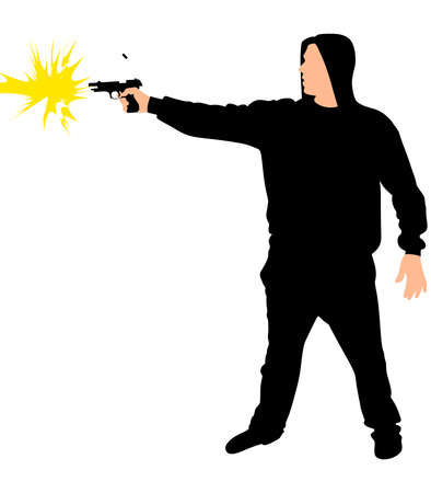 Silhouette of hip hop dancer with handgun, vector