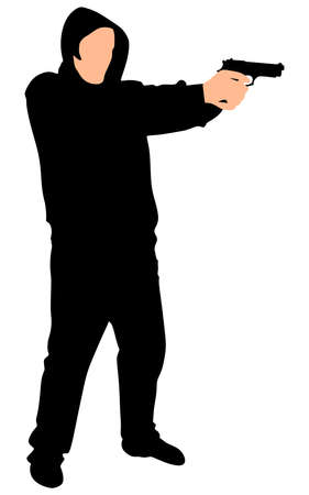 hitman: Silhouette of hip hop dancer with handgun, vector