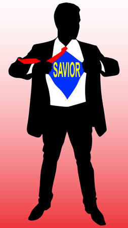 open shirt: A business man tearing open his shirt to reveal a savior sign, vector