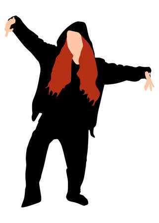 hip hop girl: Silhouette of hip hop girl dancer, vector
