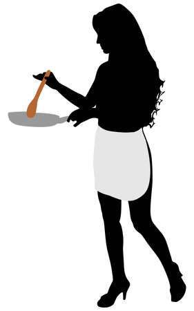 stereotypical: Silhouette of beautiful girl cooking