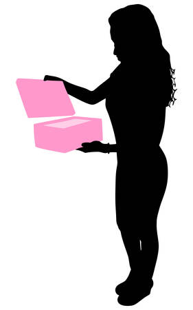 favorable: Young happy excited woman opening gift box, vector