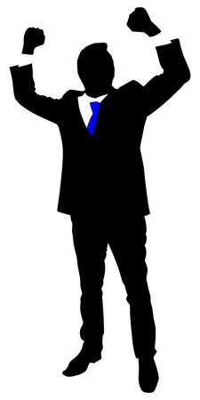 winner man: business man expressing winning winner energy success, vector Illustration