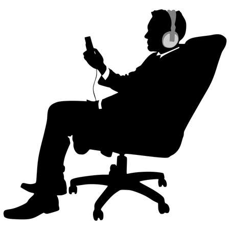 man looking out: business man listening music relaxing, vector