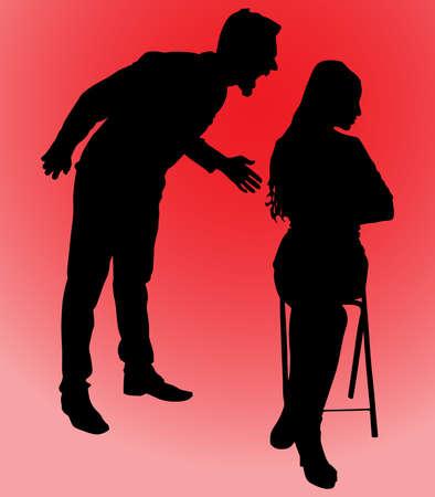 yelling: Man yelling at his girlfriend, vector