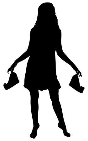 smooth legs: woman carrying the heels in her hand, vector