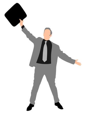 euphoric: business man expressing winning winner energy success, vector Illustration