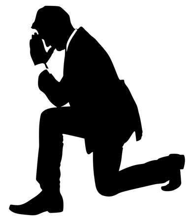 man praying: Business man praying, vector Illustration