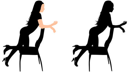 stockings woman: girl standing on chair, vector