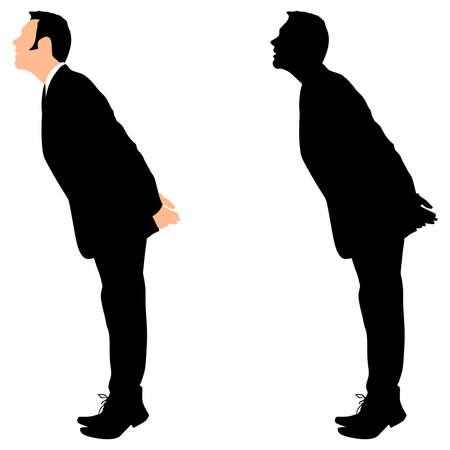 standing up: business man standing tiptoe looking up