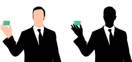 man holding card: Business man holding credit card Illustration