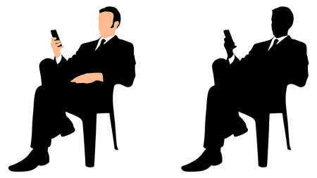 businessman shoes: successful business man use cell phone, vector