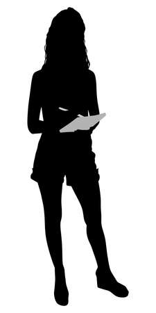 young girl: Young girl writing in notebook, vector Illustration
