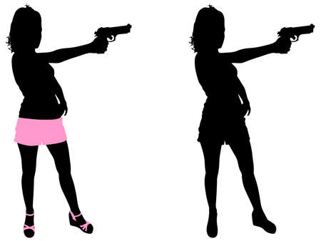 handgun: girl with handgun, vector