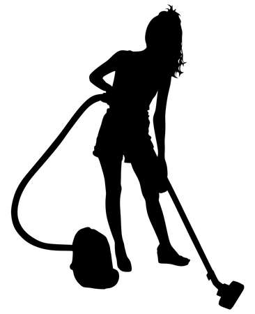 vacuuming: Young woman with vacuum cleaner, vector Illustration