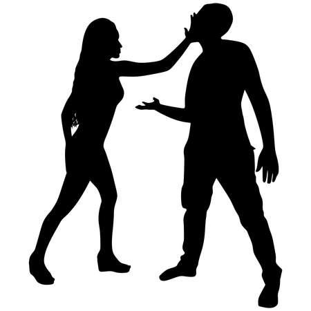slap: woman slapping a man, vector