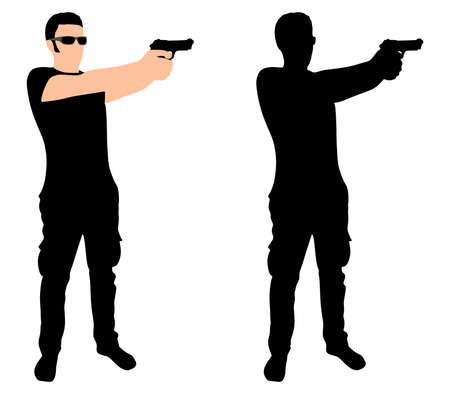 handgun: man shooting gun, vector