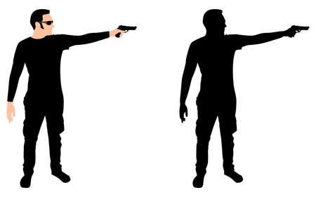 shooting gun: man shooting gun, vector