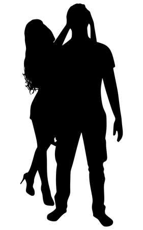 covering eyes: Girlfriend covering eyes of her boyfriend